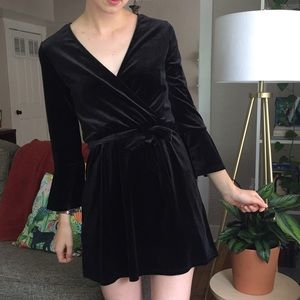 Black Velvet Bell Sleeve Wrap Dress